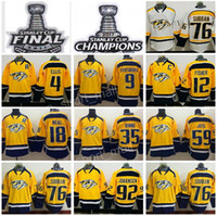 2017 Stanley Cup Jersey Final Campeón Hockey Campeonato Nashville Predators 4 Ryan Ellis 9 Filip Forsberg 12 Mike Fisher James Neal Blanco Amarillo