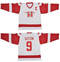 SUTTON YOUNGBLOOD Movie Hamilton MUSTANGS Ice Hockey Jersey Blank 9 SUTTON 10 YOUNGBLOOD Jerseys Custom Any Name Number White Free Shipping