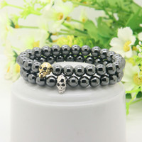 Whosale Powerful Fashion Jewelry 8mm Black Hematite Beads With Micro Pave Cz Faceted Skeleton Skull Bracelets