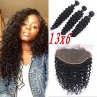 3pcs Brazilian Virgin Hair with Frontal Deep Wave 13x6 Ear t...