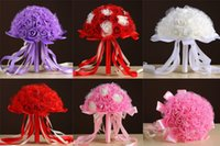 도매 새로운 베스트 셀러 웨딩 부케 라인 스톤 핑크 / 레드 / 화이트 / 퍼플 수제 꽃 인공 신부 들러리 꽃다발 실크 리본