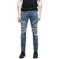 Commercio all'ingrosso- Moruancle Mens Squipped Biker Jeans Hi-Street Distressed Moto Denim Joggers Pantaloni Pantaloni in pelle Patchwork nero blu