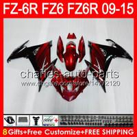 8Gifts pour Yamaha FZ6R 09 10 11 12 13 14 15 FZ6N FZ6 FZ6 Dark Rouge 89NO6 FZ-6R FZ 6R 2009 2011 2012 2013 2014 2015 Caréning rouge noir noir