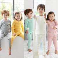 Bebek Pijamalar Çocuklar Pamuk Uzun Kollu Giyim Setleri Erkek Katı Üstleri Pantolon Kıyafetler Kızlar T Shirt Pantolon Suits ...