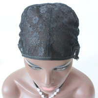Pas de perruque de dentelle sans colle Casquette de perruque juive Pour la fabrication de perruques de couleur noire avec armure réglable