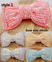"12 Pcs lot 4"" Bling Hair Bow With Clip, Girls Ribbon Hai..."