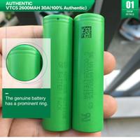 원래 18650 배터리 소니 VTC5 2600mAh 30A 배터리 높은 드레인 리튬 충전식 배터리 VTC4 VTC6 FedEx 무료 배송