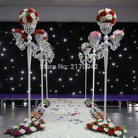 10 개 5 - 팔 흰색 촛불 홀더 꽃꽂이 Candelabra 150cm 높이 금속 캔들 홀더 스탠드 결혼식 Candelabrum 소품 H / 1.5m