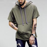 Sudaderas con capucha de bolsillo de manga corta para hombre Hombre dobladillo curvado extendido Sudadera con capucha Hip Hop Casual Pullover Tops