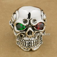 Linsion 925 Ayar Gümüş Titan Kafatası Yeşil Kırmızı CZ Taş Gözler Erkek Biker Punk Yüzük Sterling-Gümüş-Takı 8 V705 ABD Boyutu 7 ~ 15