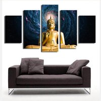 High Quality 5 Pcs The Golden Buddha Painting Canvas Print On Canvas Home  Wall Modern For Living Room