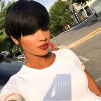 Cheap glueless full lace lace front short human hair wigs 10...