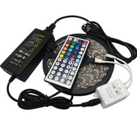 5050 RGB 60LEDs Светодиодные полосы света Водонепроницаемый 5050 RGB 60LED 5M / рулон DC 12V Гибкая 300 во главе с пультом дистанционного управления + 6A адаптер + катушка 5 м / рулон