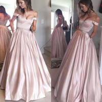 2017 Fashion off the Shoulder Long Satin Prom Dresses with P...