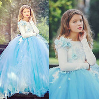 Carino blu Tulle Little Girls Pageant Prom Dresses Maniche lunghe Piano Lunghezza Graduation Gown Custom Made Flower Girl Dresses For Weddings