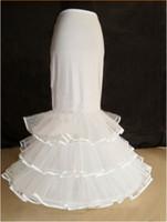 2017 New Novia Petticoats Blanco 1 Hoop 3 Capas Larga Vestido Formal Desordina Crinolina Sirena Corsé Accesorios de boda
