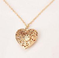 Оптово-Новая мода Женщины Hollow Золото Серебро Сердце Подвеска длинное ожерелье цепь свитер ожерелье с кулоном для женщин