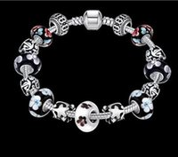 20CM Gift!!! 925 Silver Heart Charm Bracelets & Bangles Crys...