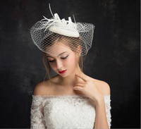 2019 New Beautiful Bridal Hats Ivory High Quality Birdcage B...