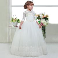 우아한 첫 번째 꽃 여자 여자 아이들을위한 드레스 화이트 졸업 드레스 공주 거룩한 친교 드레스 2020