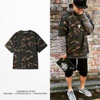 Kanye HEYBIG бренд одежды сезон 1 камуфляж Tee Уличная мода футболки мужчины негабаритных камуфляж Майка китайский размер