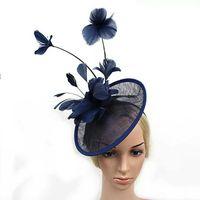 2017 Mulheres Mais recente Cocktail Formal Sinamay fascinador casamento Hat Prom Grande Feather Headband fascinador Flower Hat Padrão