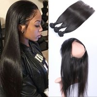Peruvian Virgin Hair 360 Lace Frontal Closure with 3 Bundles...