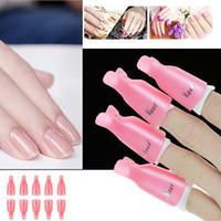 Büyük indirim !!! 10 adet Pembe Plastik Akrilik Nail Art Kapalı Islatın Klip Kap UV Jel Lehçe Remover Wrap Tırnak
