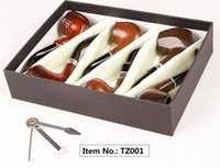 Sigaretta tabacco Colore legno Tubi da fumo Materiale acrilico metallo 6 pezzi / set Confezioni regalo Con coltello da fumo Per fumare 4 tipi