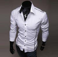 Camisas de los hombres libres del envío Camisas de vestir ocasionales a estrenar de los hombres aptos Color: Negro, gris, blanco
