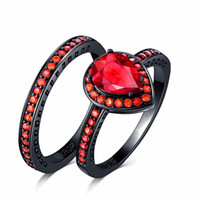 Never fade double heart shape red Cubic Zirconia 2 Rings Set...