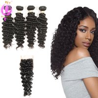 Brazilian Deep Wave Human Hair Extensions Pack of 4 Unproces...