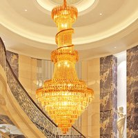 Gold Crystal Chandeliers Luxury Long Modern Chandeliers Ligh...