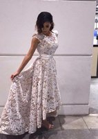 High Low Lace Capped Sleeves Vestidos De Festa Jewel Neck Zi...