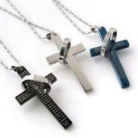 MIC Фибо стали из нержавеющей стали мужская женская Библия крест очарование кулон ожерелье, 3 цвета доступны