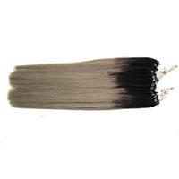 Ombre bastoncini per capelli umani 200g capelli vergini brasiliani Lisci T1B / Grigio argento micro loop estensioni dei capelli 1g / s 200s