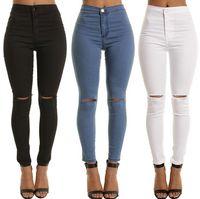 Хорошие подарочные вспышки эластичных женских джинсов тонкий был тонкий колен манжеты 9 баллов Ноги штаны женские JW023 Женские Женские джинсы