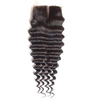 Unprocessed Malaysian Deep Wave Lace Closure Free Middle 3 W...
