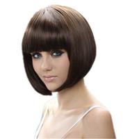 Corto Bob Straight mujeres fiesta Cosplay peluca Natrual negro marrón claro marrón oscuro 35 cm pelucas de pelo sintético