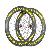 AWST TC 90 sarı çıkartma 88mm tam karbon bisiklet tekerlekleri kattığı 700C bazalt yüzey bisiklet tekerlekleri powerway stright hub 38/50 / 60mm