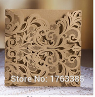 Wholesale  Luxury DIY Laser Cut Lace Fleur De Lis Wedding Invitation Invite  Card Cover (50PCS)