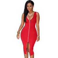 Wholesale- S-4XL 2017 Seksi Elbise Kulübü Artı Boyutu Kadın Parti Elbiseler Bodycon Sundress Paket Kalça Mavi Kırmızı Beyaz Siyah Midi Yaz Elbise