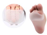 100ペア/ロットセルラ通気性柔らかいシリコーンジェルトゥパッドハイヒールのショックアンチスリップ耐性後の足底足板の前足パッド