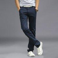 Al por mayor-Nueva moda para hombre pantalones rectos de carga Chinos hombres Casual Slim Fit primavera ejército verde pantalones ropa de gran tamaño