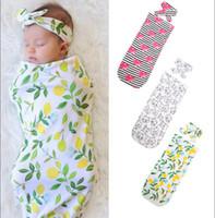 New Baby спальный мешок мультфильм новорожденных одеяла обертывания с полоской лимона печатных пеленание + бантики ленты для волос 2 шт. Наборы детское одеяло C2173