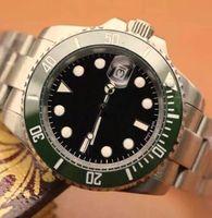 Классические Новые Мужчины Роскошные автоматические часы из нержавеющей стали зеленый керамический ободок водостойкой Мужские механические наручные часы Бесплатная доставка