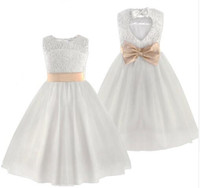 New Flower Girl Dresses Bianco / Avorio Real Party Pageant Comunione Dress Little Girls Kids / Children Dress for Wedding