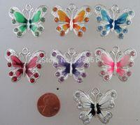 Vintage Silvers animali dello smalto farfalla di cristallo incanta i pendenti per i braccialetti collana dei monili che fanno i risultati di DIY Craft 21x22mm