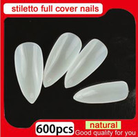 MN Nouveau salon bricolage naturel acrylique conseils de l'ongle pleine couverture faux ongles stiletto 500 pcs + 100 pcs faux ongles