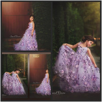 2019 Purple Flower Girls Dresses For Weddings 3D Floral Appl...